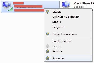 Schermata delle opzioni del WiFi