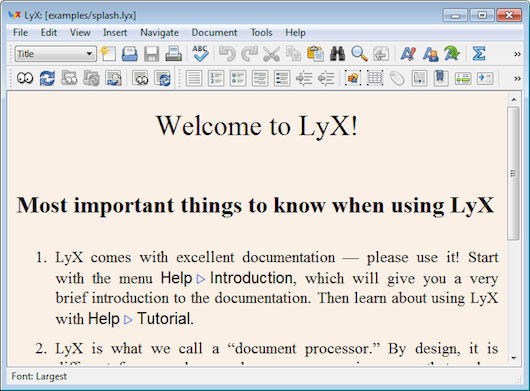 Interfaccia grafica dell'editor di testo LyX