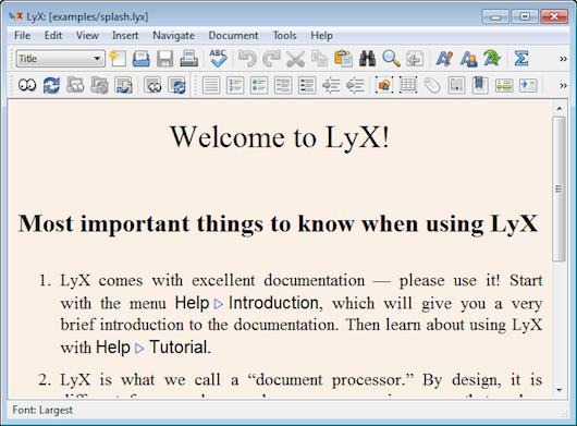 Interfaccia grafica dell'editor di testo LyX