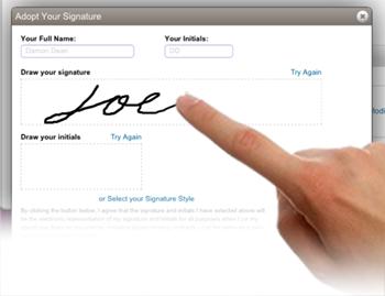 Schermata dell'applicazione per creare la nostra firma