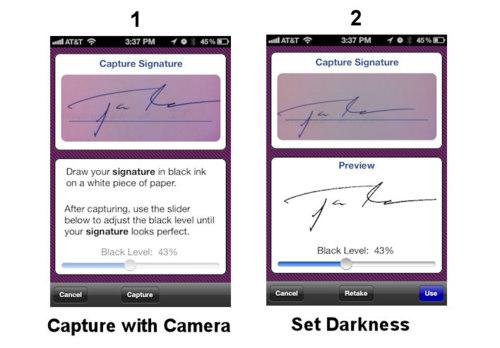 Schermata dell'applicazione per usare una firma realizzata su carta