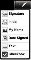 Selezione del tipo di firma da inserire