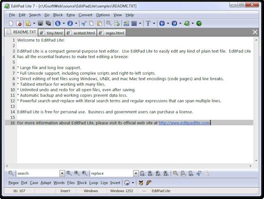 Interfaccia grafica dell'editor di testo EditPad Lite
