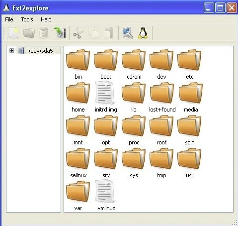 Interfaccia dell'applicazione Ext2explore per leggere partizioni Linux da Windows