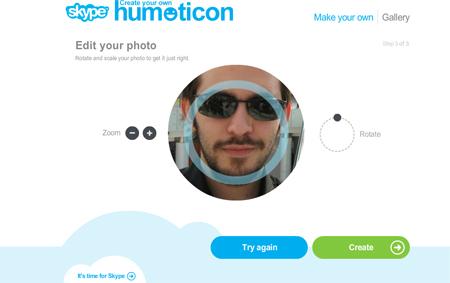 Interfaccia dell'applicazione per creare le emoticon per Skype
