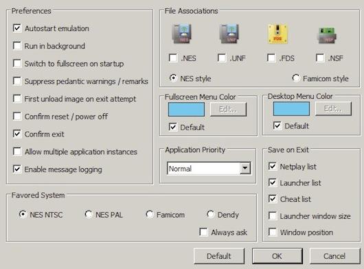 Pannello di configurazione dell'emulatore Nestopia