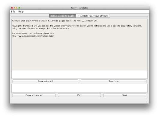 Interfaccia grafica del programma RaiTranslator