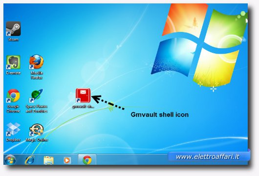 Immagine dell'icona di Gmvault sul desktop di Windows 7
