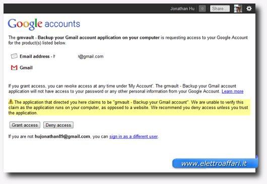 Messaggio di avviso mostrato dal vostro account Gmail