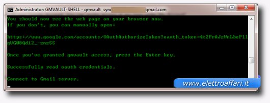 Gmvault inizia il download della posta di Gmail