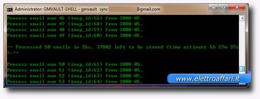 Schermata che mostra il download dei messaggi e degli allegati di Gmail
