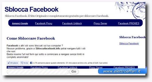 Immagine del sito Sblocca Facebook