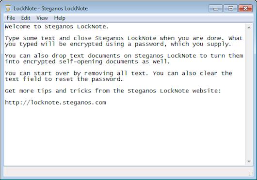 Interfaccia grafica dell'editor di testo Lock Note