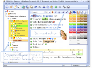 Immagine del software AllMyNotes per prendere note