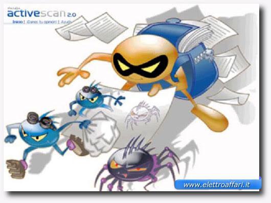 Disegno di virus raffigurati in modo simpatico