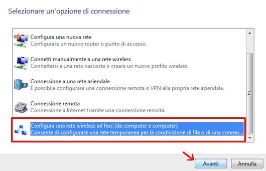 Configurare una rete wireless ad hoc
