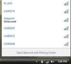 Lista delle reti Wi-Fi disponibili