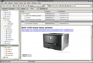 Immagine del software KeepNote per prendere note
