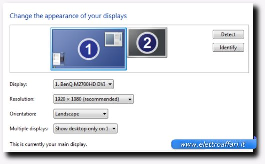 Il classico pannello delle opzioni dello schermo del PC