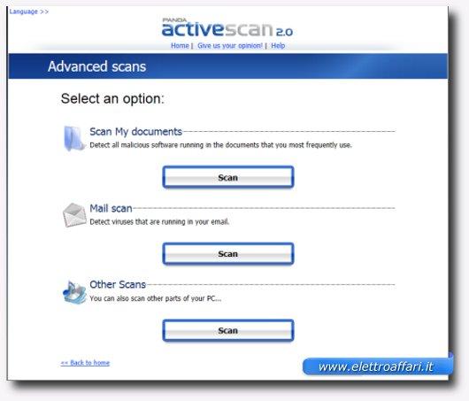 Immagine dell'antivirus online Panda ActiveScan
