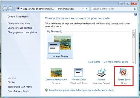 Icona Screensaver da cliccare
