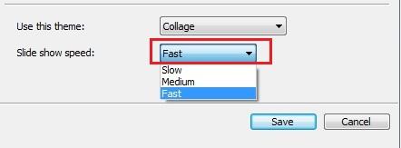 Scelta della velocità con cui vengono mostrate le foto nello screensaver