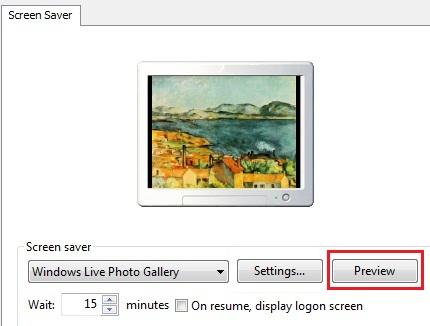 Pulsante per vedere l'anteprima dello screensaver creato