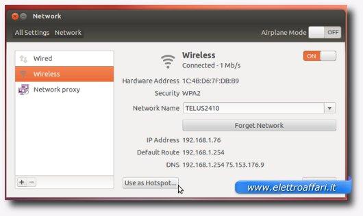 Schermata delle impostazioni Wireless