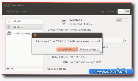 Avviso di Ubuntu per disconnettere il PC da altre connessioni Wireless
