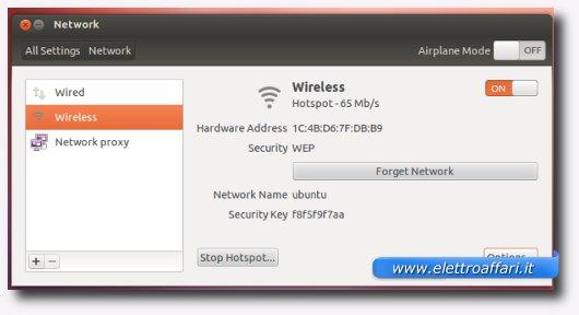 Schermata delle impostazioni dell'access point appena creato