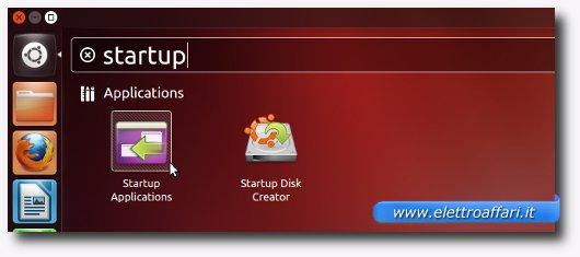 Avvio dell'applicazione Startup Applications su Ubuntu