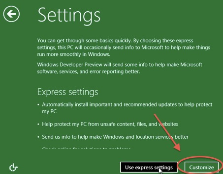 Schermata di settaggi di Windows 8