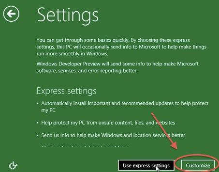 Schermata di settaggi di Windows 8