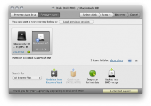 Interfaccia del software Disk Drill per recuperare file sul Mac