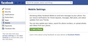 Pagina di Facebook per inserire il numero di cellulare