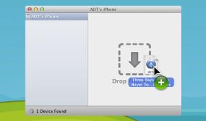 Schermata per il trasferimento dei file dal Mac all'iPhone