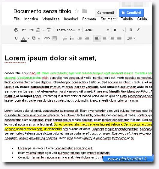 Immagine dell'inserimento testo nel documento