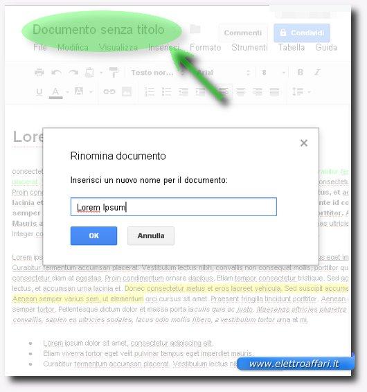 Immagine del salvataggio del documento