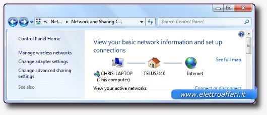 Pannello delle connessioni ad internet su Windows