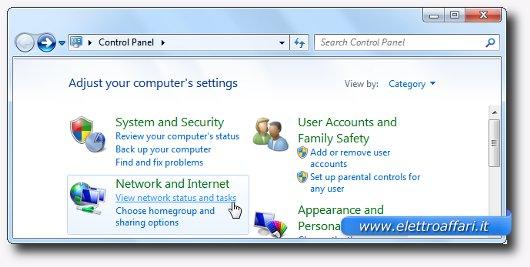 Immagine del Pannello di Controllo di Windows