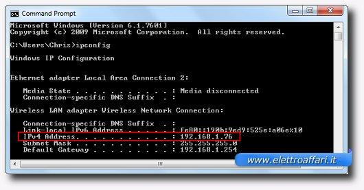 Indirizzo IP mostrato sulla finestra del Prompt dei comandi