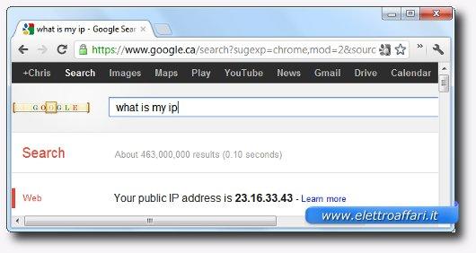 Ricerca su Google del sito per trovare l'indirizzo IP pubblico