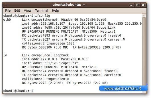 Indirizzo IP mostrato sulla finestra della shell di Ubuntu