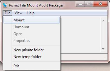 Interfaccia del software Pismo File Mount