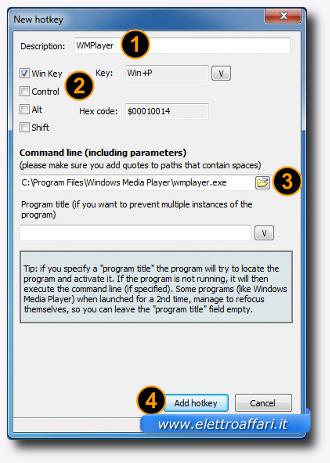 Schermata per la creazione di una scorciatoia da tastiera