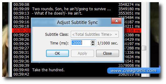 Modificare il valore dei sottotitoli
