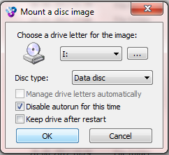 Interfaccia del software WinCDEmu