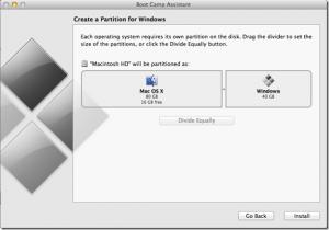 Schermata per la creazione della partizione per Windows 8