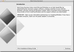 Schermata di avvio di Boot Camp