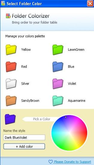 Finestra con le cartelle colorate